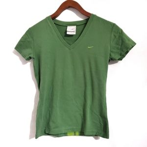 Nike Green V-neck Stripe Active T-Shirt